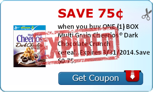 Save 75¢ when you buy ONE (1) BOX Multi Grain Cheerios® Dark Chocolate Crunch cereal..Expires 3/31/2014.Save $0.75.