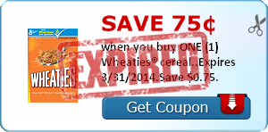 Save 75¢ when you buy ONE (1) Wheaties® cereal..Expires 3/31/2014.Save $0.75.