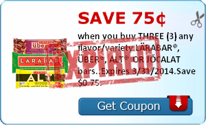 Save 75¢ when you buy THREE (3) any flavor/variety LÄRABAR®, ÜBER®, ALT®  OR JOCALAT bars..Expires 3/31/2014.Save $0.75.