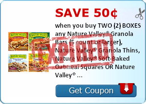 Save 50¢ when you buy TWO (2) BOXES any Nature Valley® Granola Bars (5 count or larger), Nature Valley® Granola Thins, Nature Valley® Soft-Baked Oatmeal Squares OR Nature Valley® Breakfast Biscuits..Expires 3/31/2014.Save $0.50.