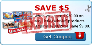 Save $5.00 when you spend $20.00 on any Little Debbie® products. .Expires 4/30/2014.Save $5.00.
