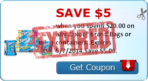 Save $5.00 when you spend $20.00 on any Ziploc® brand Bags or containers..Expires 5/7/2014.Save $5.00.