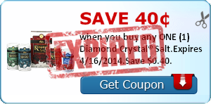 Save 40¢ when you buy any ONE (1)  Diamond Crystal® Salt.Expires 4/16/2014.Save $0.40.