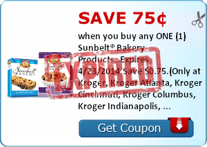 Save 75¢ when you buy any ONE (1) Sunbelt® Bakery Products..Expires 4/23/2014.Save $0.75.(Only at Kroger, Kroger Atlanta, Kroger Cincinnati, Kroger Columbus, Kroger Indianapolis, Hilander, PayLess, Owen's, Kroger Memphis, Kroger Michigan, Kroger Mid Atlan