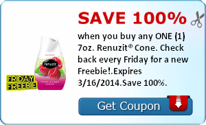 Save 100% when you buy any ONE (1) 7oz.-7.5oz. Renuzit® Cone. Check back every Friday for a new Freebie!.Expires 3/16/2014.Save 100%.