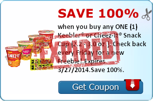 Save 100% when you buy any ONE (1) Keebler® or Cheez-It® Snack Cup (2.2 - 3.0 oz.). Check back every Friday for a new Freebie!.Expires 3/27/2014.Save 100%.