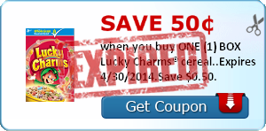 Save 50¢ when you buy ONE (1) BOX Lucky Charms® cereal..Expires 4/30/2014.Save $0.50.