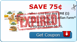 Save 75¢ when you buy any ONE (1) flavor/variety Cascadian Farm® product..Expires 4/30/2014.Save $0.75.