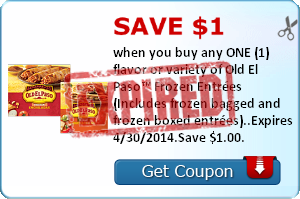 Save $1.00 when you buy any ONE (1) flavor or variety of Old El Paso™ Frozen Entrées (Includes frozen bagged and frozen boxed entrées)..Expires 4/30/2014.Save $1.00.