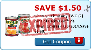 Save $1.50 when you buy any TWO (2) cans of Lucky Leaf® Pie Filling..Expires 4/20/2014.Save $1.50.