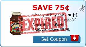 Save 75¢ when you buy any ONE (1) 28oz. jar of Musselman's® Apple Butter.Expires 4/20/2014.Save $0.75.