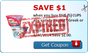 Save $1.00 when you buy FIVE (5) CUPS any variety Yoplait® Greek or Yoplait® Greek 100 yogurt..Expires 4/30/2014.Save $1.00.