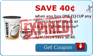 Save 40¢ when you buy ONE (1) CUP any flavor Liberté® Greek or Liberté® Méditerranée® yogurt..Expires 4/30/2014.Save $0.40.