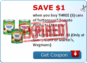 Save $1.00 when you buy THREE (3) cans of Tuttorosso® Tomato Products (28 oz. or larger)..Expires 5/18/2014.Save $1.00.(Only at Giant, Giant or Martin's, Wegmans)