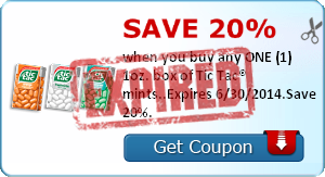 Save 20% when you buy any ONE (1) 1oz. box of Tic Tac® mints..Expires 6/30/2014.Save 20%.