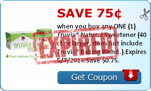 Save 75¢ when you buy any ONE (1) Truvia® Natural Sweetener (40 ct or larger, does not include Truvia® Baking Blend.).Expires 5/7/2014.Save $0.75.