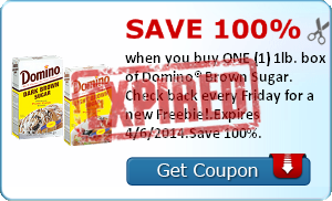 Save 100% when you buy ONE (1) 1lb. box of Domino® Brown Sugar. Check back every Friday for a new Freebie!.Expires 4/6/2014.Save 100%.