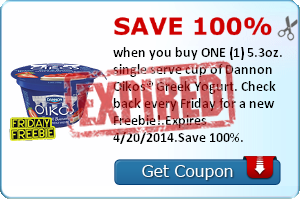 Save 100% when you buy ONE (1) 5.3oz. single serve cup of Dannon Oikos® Greek Yogurt. Check back every Friday for a new Freebie!.Expires 4/20/2014.Save 100%.