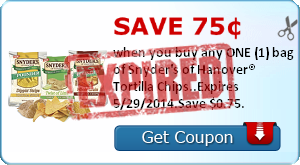 Save 75¢ when you buy any ONE (1) bag of Snyder's of Hanover® Tortilla Chips..Expires 5/29/2014.Save $0.75.