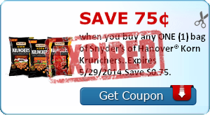 Save 75¢ when you buy any ONE (1) bag of Snyder's of Hanover® Korn Krunchers..Expires 5/29/2014.Save $0.75.