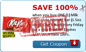 Save 100% when you buy ONE (1) Milk Chocolate Kit Kat bar (1.5oz. only). Check back every Friday for a new Freebie!.Expires 4/27/2014.Save 100%.