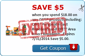 Save $5.00 when you spend $18.00 on any OFF!® products including: OFF!® Personal Insect Repellents and OFF!® Area Insect Repellents..Expires 7/31/2014.Save $5.00.