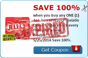 Save 100% when you buy any ONE (1) 3oz. box of JELL-O® Gelatin. Check back every Friday for a new Freebie!.Expires 5/25/2014.Save 100%.