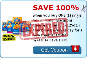 Save 100% when you buy ONE (1) single box of Kraft® Macaroni & Cheese Dinner (5.5-7.25oz.). Check back every Friday for a new Freebie!.Expires 5/4/2014.Save 100%.