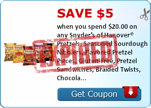 Save $5.00 when you spend $20.00 on any Snyder's of Hanover® Pretzels, Seasoned Sourdough Nibblers, Flavored Pretzel Pieces, Gluten-Free, Pretzel Sandwiches, Braided Twists, Chocolate Covered Pretzels, Pretzel Spoonz, Tortilla Chips and Korn Krunchers..Ex