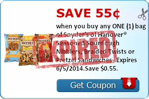 Save 55¢ when you buy any ONE (1) bag of Snyder's of Hanover® Seasoned Sourdough Nibblers, Braided Twists or Pretzel Sandwiches..Expires 6/5/2014.Save $0.55.