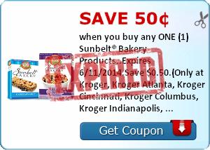 Save 50¢ when you buy any ONE (1) Sunbelt® Bakery Products..Expires 6/11/2014.Save $0.50.(Only at Kroger, Kroger Atlanta, Kroger Cincinnati, Kroger Columbus, Kroger Indianapolis, Hilander, PayLess, Owen's, Kroger Memphis, Kroger Michigan, Kroger Mid Atlan