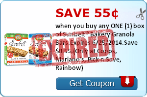 Save 55¢ when you buy any ONE (1) box of Sunbelt® Bakery Granola Bars.Expires 6/25/2014.Save $0.55.(Only at Copps, Mariano's, Pick n Save, Rainbow)