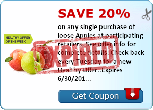 Save 20% on any single purchase of loose Apples at participating retailers. See offer info for complete details. Check back every Tuesday for a new Healthy Offer..Expires 6/30/2014.Save 20%.