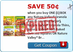Save 50¢ when you buy ONE (1) BOX any Nature Valley® Granola Bars (5 count or larger), Nature Valley® Granola Thins, Nature Valley® Soft-Baked Oatmeal Squares OR Nature Valley® Breakfast Biscuits..Expires 6/30/2014.Save $0.50.