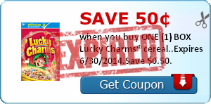 Save 50¢ when you buy ONE (1) BOX Lucky Charms® cereal..Expires 6/30/2014.Save $0.50.