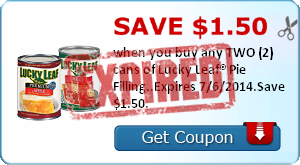 Save $1.50 when you buy any TWO (2) cans of Lucky Leaf® Pie Filling..Expires 7/6/2014.Save $1.50.
