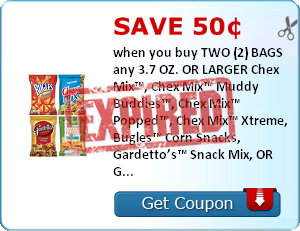 Save 50¢ when you buy TWO (2) BAGS any 3.7 OZ. OR LARGER Chex Mix™, Chex Mix™ Muddy Buddies™, Chex Mix™ Popped™, Chex Mix™ Xtreme, Bugles™ Corn Snacks, Gardetto's™ Snack Mix, OR Green Giant™ Veggie Snacks (Chips, Puffs or Fries)..Expires 6/30/2014.Save $0