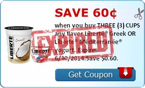 Save 60¢ when you buy THREE (3) CUPS any flavor Liberté® Greek OR Liberté® Méditerranée® yogurt..Expires 6/30/2014.Save $0.60.