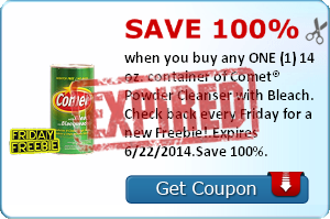 Save 100% when you buy any ONE (1) 14 oz. container of Comet® Powder Cleanser with Bleach. Check back every Friday for a new Freebie!.Expires 6/22/2014.Save 100%.