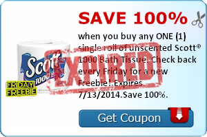 Save 100% when you buy any ONE (1) single roll of unscented Scott® 1000 Bath Tissue. Check back every Friday for a new Freebie!.Expires 7/13/2014.Save 100%.