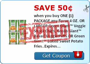 Save 50¢ when you buy ONE (1) PACKAGE any flavor 4 OZ. OR LARGER Green Giant™ Veggie Snack Chips, Green Giant™ Baked Veggie Puffs OR Green Giant™ Baked Sweet Potato Fries..Expires 7/31/2014.Save $0.50.
