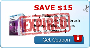 Save $10.00  Any Philips Sonicare Rechargeable Toothbrush (except Philips Sonicare Xtreme & PowerUp)