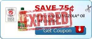 Save 75&cent; on one (1) MAZOLA&reg; Vegetable Oil 1.42 L bottle
