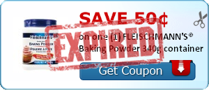 Save 50&cent; on one (1) FLEISCHMANN'S&reg; Baking Powder 340g container