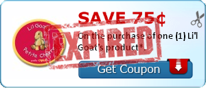 Save 75¢ On the purchase of one (1) Li'l Goat's product*.