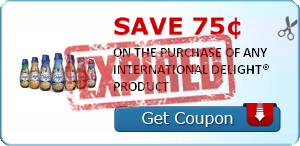 Save 75¢ ON THE PURCHASE OF ANY INTERNATIONAL DELIGHT® PRODUCT