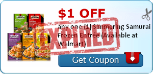 $1.00 off any one (1) Simmering Samurai Frozen Entrée (Available at Walmart)