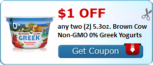 $1.00 off any two (2) 5.3oz. Brown Cow Non-GMO 0% Greek Yogurts