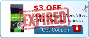 $3.00 off of any size bag of World's Best Cat Litter Clumping Formulas
